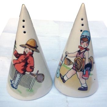 Clarice Cliff sugar shakers, Children & Toys design. - Art Pottery