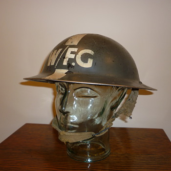 British WWII Warden Fire Guard steel helmet. - Military and Wartime