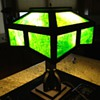 Arts &amp; Craft period Mission oak Slag Glass Lamp c.1910