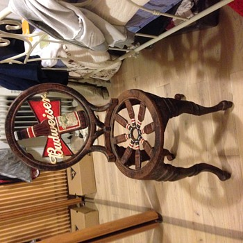 1950s cast iron Budweiser bistro chair - Breweriana