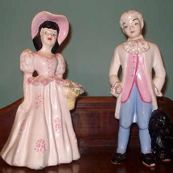 Victorian Man & Woman & Dog Figurine - Art Pottery