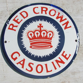 "10"" Red Crown gas pump sign 1920s?"