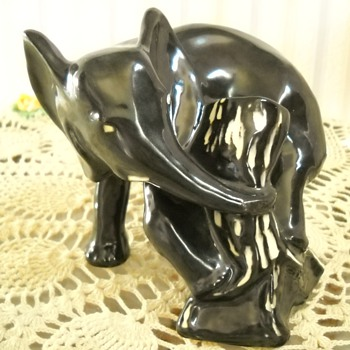 Vintage California Black Elephant Statue - Animals