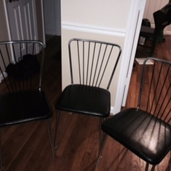 Lloyd Manufacturing Company - (3) Art Deco Chrome Leather Chairs