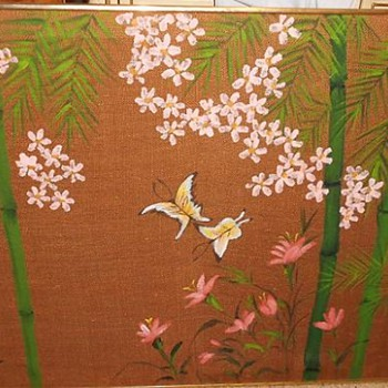 Mid Century - Vintage  - Painting on Burlap - Japanese? - Asian