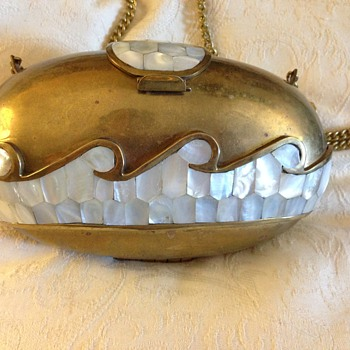 #14 Brass with Inlayed Pearl and Lined Purse