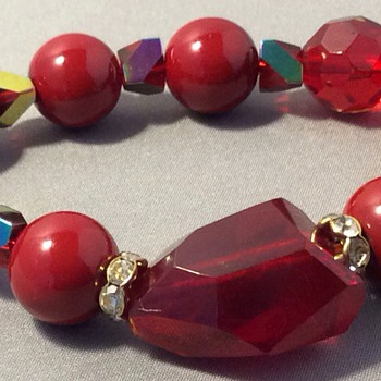 Ruby Red stone bracelet, - Costume Jewelry
