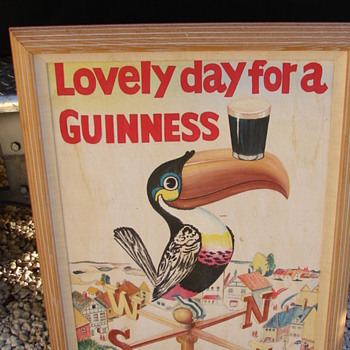 Guinness Tucan beer advertising painting on board