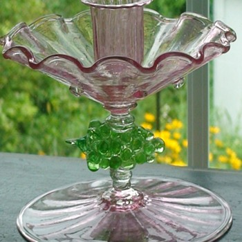 Pink Glass Compote/Candle Holder With Grape Accents Salviati (?) - Art Glass