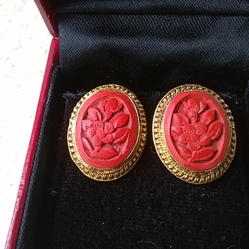 Silver Gilt Carved Red Cinnabar Filigree Earrings Thrift Shop Find 1 Euro ($1.12) - Fine Jewelry