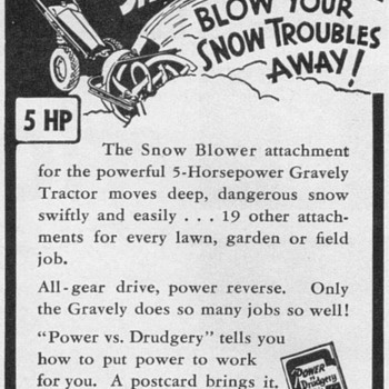 1951 - Gravely Snow Blower Advertisement - Advertising