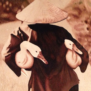 A Lovely silk Picture of a Asian man carrying two goose's