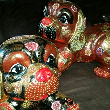 Large hand painted dog statues