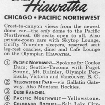 1953 - Milwaukee Railroad Advertisement