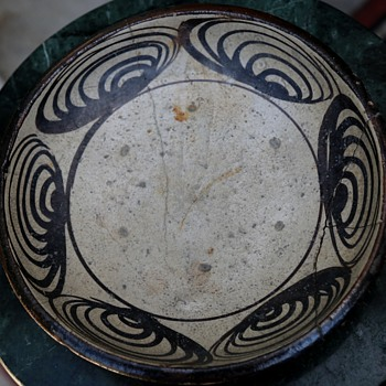 Japanese old SETO pottery plate of very popular UMA-NO-ME-ZARA - Pottery