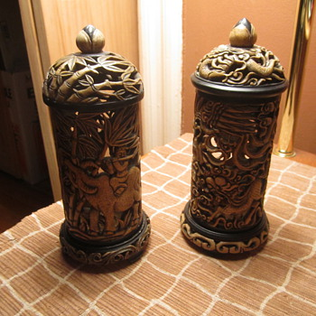 Twin Asian Art Lanterns ? Lamps ? Incense Burner - Asian