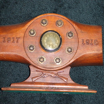 WW1 Trench Art Propeller hub with clock inset