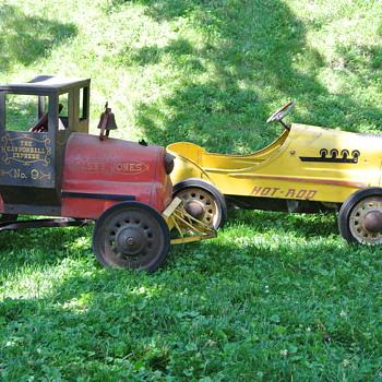 Vintage Unrestored Pedal Cars - Hot Rod and Casey Jones Locomotive by Garton - Toys