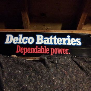 Vintage Delco Batteries Tin Sign