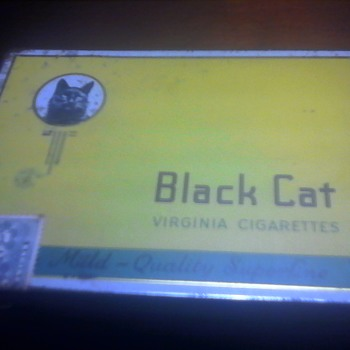 Black Cat Cigarette Tin Yellow