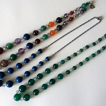 1930s Art Deco? Pebble/gemstone necklaces - Costume Jewelry