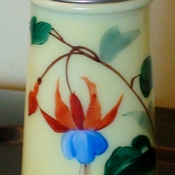 Antique Custard Glass Sugar Shaker With Hand-Painted Fuchsia