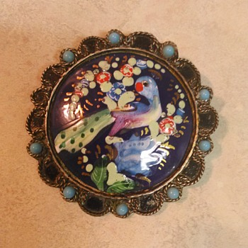 ENAMEL BIRD BROOCH
