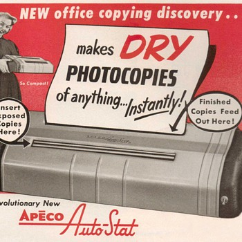 1952 - Apeco Photocopier Advertisement - Advertising