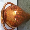 Copper glaze urn marked CJ