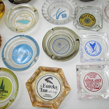California and Western Glass Advertising Ashtrays at Alameda - Tobacciana