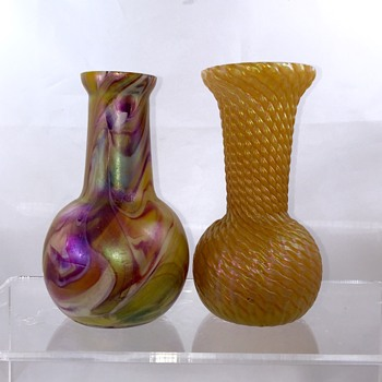 Kralik Snakeskin or Rindskof? Orange Swirl Iridescent Vase - Art Glass