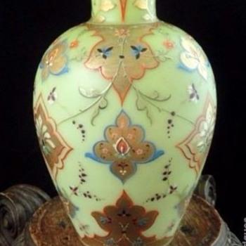 Antique Bohemian Victorian Harrach Hand Painted Enamel Floral Art Glass Vase - Art Glass