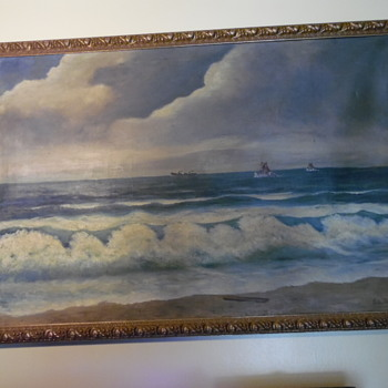 1942 Large Boats On Sea Painting Please Help ID Name - Visual Art