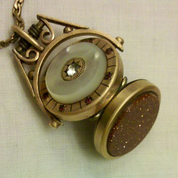 Spinning Watch Fob Locket w/Mother of Pearl, Rubies, and Sandstone. - Pocket Watches
