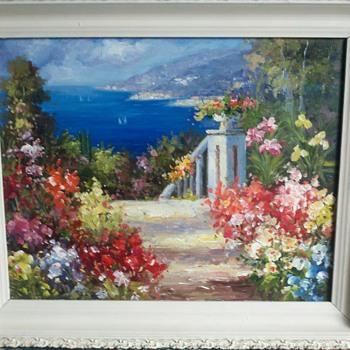 Garden and ocean original painting