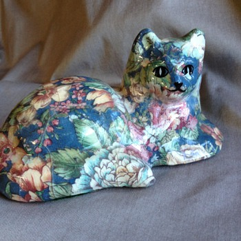 Decoupage Cat Figure - Art Glass