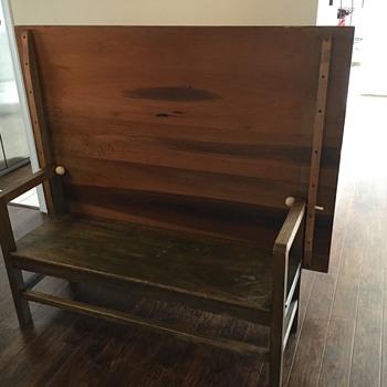 Shaker 1800s settle, bench table.