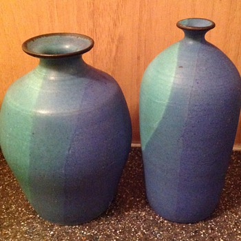 2 small barium glazed studio pots