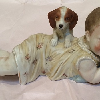 Antique Bisque Porcelain Piano Baby