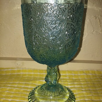 Art glass goblet .