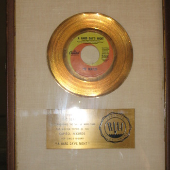 "RIAA 45 award white matte ""coin"" single for ""HARD DAYS NIGHT""."