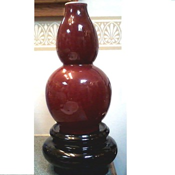 "Beautiful 12"" Chinese Iron Red Double Gourd Vase / Apocryphal Qing-Kangxi Impressed Seal Mark/ Circa 20th Century - Asian"