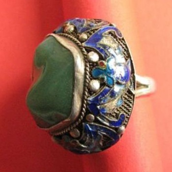 Chinese vermeil enameled Jade ring - Fine Jewelry