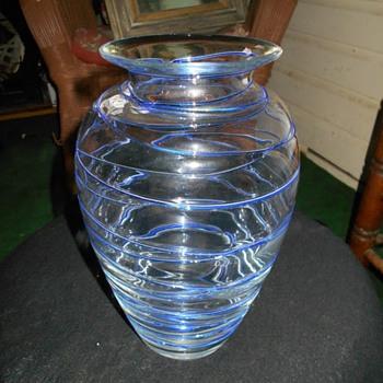 Large Crystal Blown Vase with Random Cobalt Threading Bohemian?