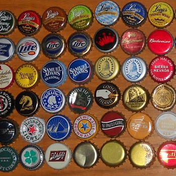 Assorted beer bottle caps