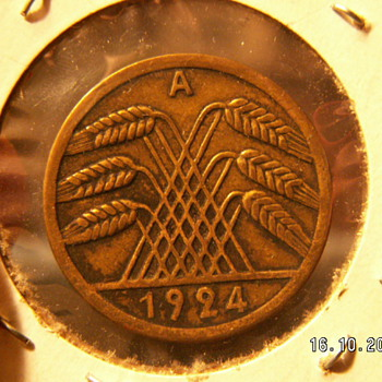 50 Rentenpfennig (Wheat Cent) 1924 (Pre-war)