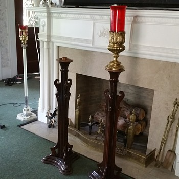 Vintage funeral home candle lamps