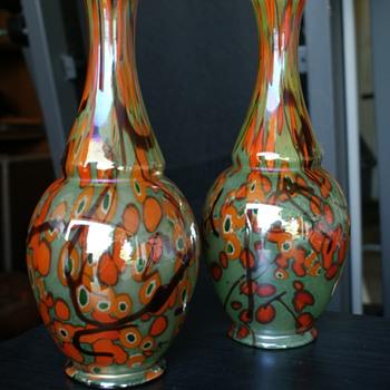 kralik millefiori iridescence vase  - bowling pin shape