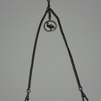 Sterling Silver Double Albert Watch Chain with Emu Fob