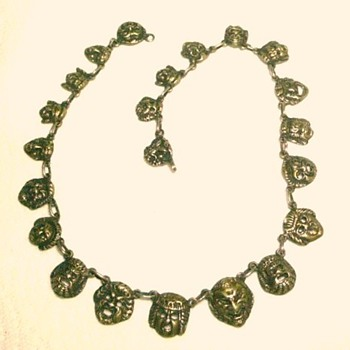 Victorian Necklace from Italy with Grotesque Faces